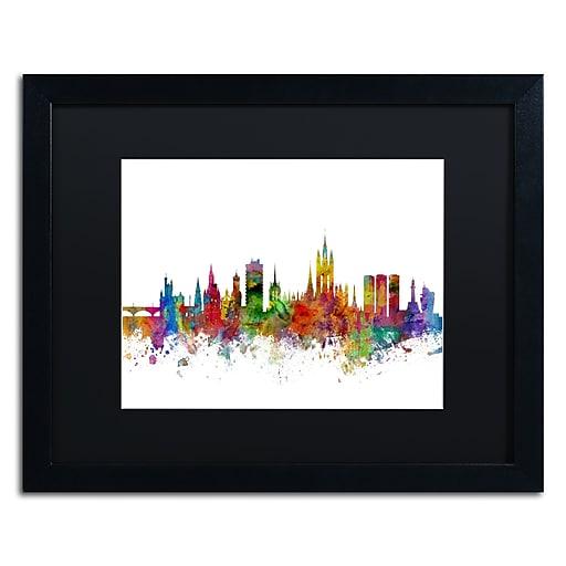 "Trademark Fine Art ''Aberdeen Scotland Skyline II'' by Michael Tompsett 16"" x 20"" Black Matted Black Frame (MT0794-B1620BMF)"