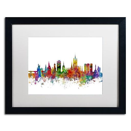 "Trademark Fine Art ''Aberdeen Scotland Skyline II'' by Michael Tompsett 16"" x 20"" White Matted Black Frame (MT0794-B1620MF)"