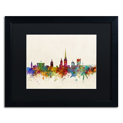 "Trademark Fine Art ''Norwich England Skyline'' by Michael Tompsett 16"" x 20"" Black Matted Black Frame (MT0795-B1620BMF)"