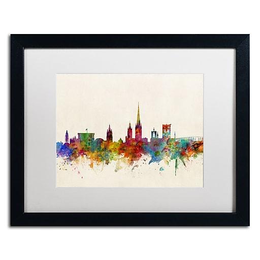 "Trademark Fine Art ''Norwich England Skyline'' by Michael Tompsett 16"" x 20"" White Matted Black Frame (MT0795-B1620MF)"
