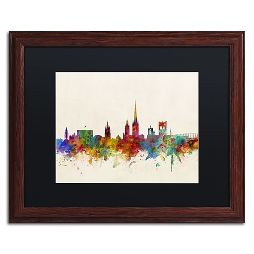 "Trademark Fine Art ''Norwich England Skyline'' by Michael Tompsett 16"" x 20"" Black Matted Wood Frame (MT0795-W1620BMF)"