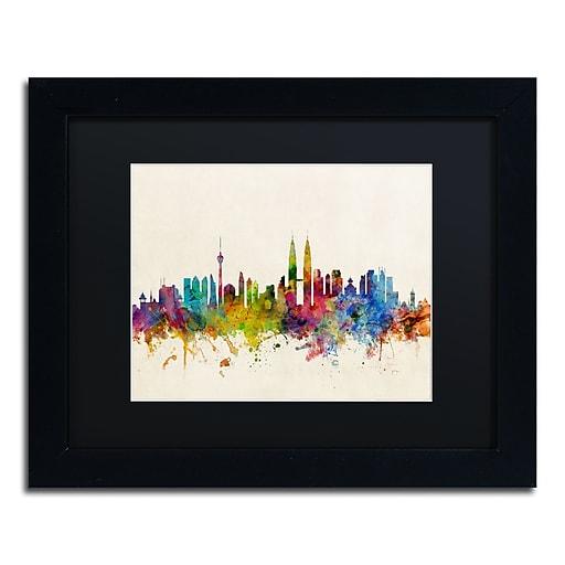 "Trademark Fine Art ''Kuala Lumpur Malaysia Skyline'' by Michael Tompsett 11"" x 14""Black Frame (MT0797-B1114BMF)"