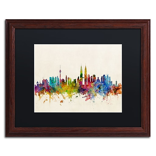 "Trademark Fine Art ''Kuala Lumpur Malaysia Skyline'' by Michael Tompsett 16"" x 20"" Black Matted Wood Frame (MT0797-W1620BMF)"