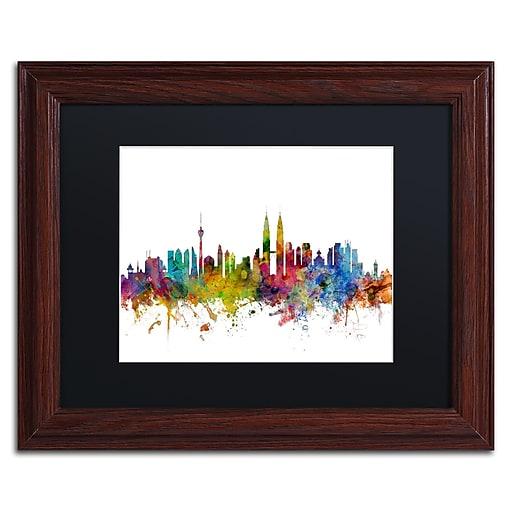 "Trademark Fine Art ''Kuala Lumpur Malaysia Skyline II'' by Michael Tompsett 11"" x 14""Wood Frame (MT0798-W1114BMF)"