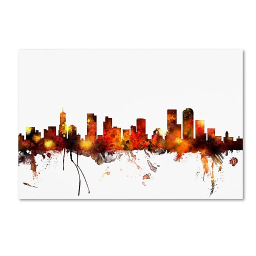 "Trademark Fine Art ''Denver Colorado Skyline'' by Michael Tompsett 22"" x 32"" Canvas Art (MT0799-C2232GG)"