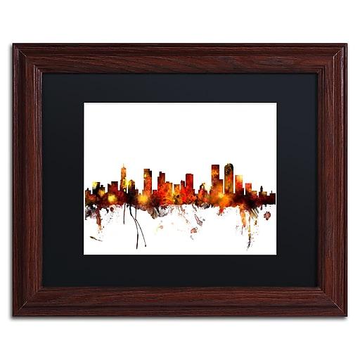 "Trademark Fine Art ''Denver Colorado Skyline II'' by Michael Tompsett 11"" x 14""Wood Frame (MT0799-W1114BMF)"