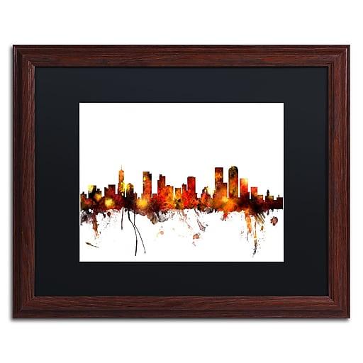 "Trademark Fine Art ''Denver Colorado Skyline II'' by Michael Tompsett 16"" x 20"" Black Matted Wood Frame (MT0799-W1620BMF)"