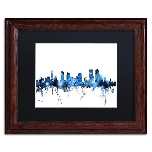 "Trademark Fine Art ''Denver Colorado Skyline III'' by Michael Tompsett 11"" x 14""Wood Frame (MT0800-W1114BMF)"