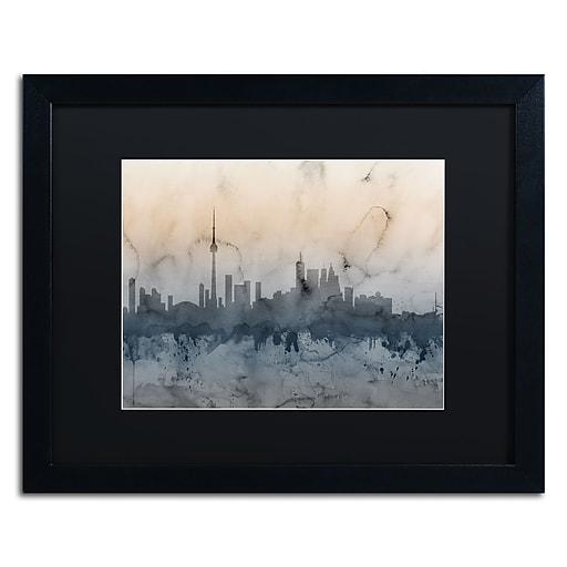 "Trademark Fine Art ''Toronto Canada Skyline V'' by Michael Tompsett 16"" x 20"" Black Matted Black Frame (MT0801-B1620BMF)"