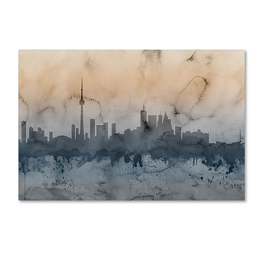 "Trademark Fine Art ''Toronto Canada Skyline'' by Michael Tompsett 22"" x 32"" Canvas Art (MT0801-C2232GG)"