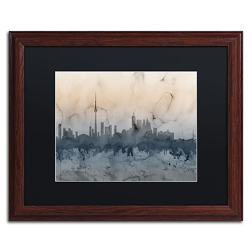 "Trademark Fine Art ''Toronto Canada Skyline V'' by Michael Tompsett 16"" x 20"" Black Matted Wood Frame (MT0801-W1620BMF)"