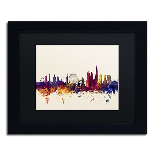 "Trademark Fine Art ''London England Skyline III'' by Michael Tompsett 11"" x 14""Black Frame (MT0802-B1114BMF)"