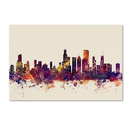 "Trademark Fine Art ''Chicago Illinois Skyline'' by Michael Tompsett 16"" x 24"" Canvas Art (MT0803-C1624GG)"