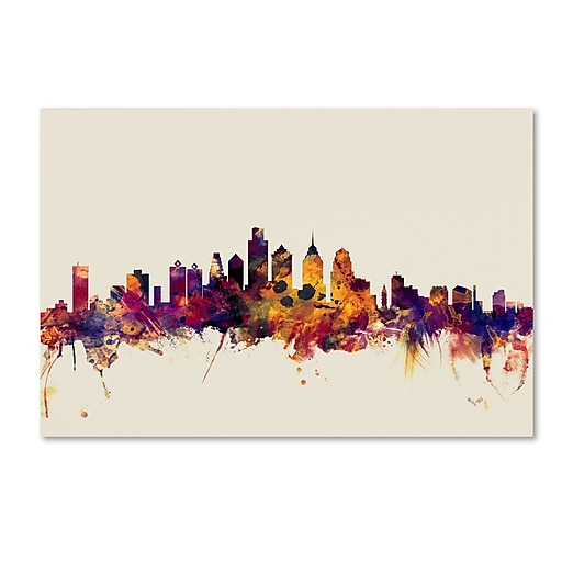 "Trademark Fine Art ''Philadelphia Pennsylvania Skyline'' by Michael Tompsett 22"" x 32"" Canvas Art (MT0806-C2232GG)"
