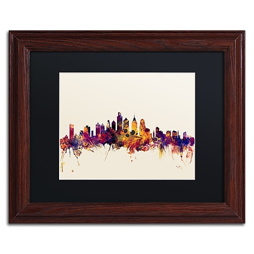 "Trademark Fine Art ''Philadelphia Skyline IV'' by Michael Tompsett 11"" x 14""Wood Frame (MT0806-W1114BMF)"