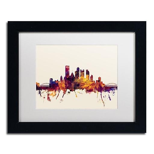 "Trademark Fine Art ''Pittsburgh Skyline IV'' by Michael Tompsett 11"" x 14"" Black Frame (MT0807-B1114MF)"