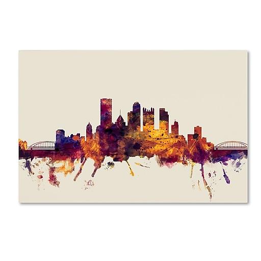 "Trademark Fine Art ''Pittsburgh Pennsylvania Skyline'' by Michael Tompsett 12"" x 19"" Canvas Art (MT0807-C1219GG)"