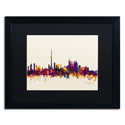 "Trademark Fine Art ''Toronto Canada Skyline VI'' by Michael Tompsett 16"" x 20"" Black Matted Black Frame (MT0808-B1620BMF)"