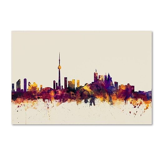 "Trademark Fine Art ''Toronto Canada Skyline'' by Michael Tompsett 12"" x 19"" Canvas Art (MT0808-C1219GG)"