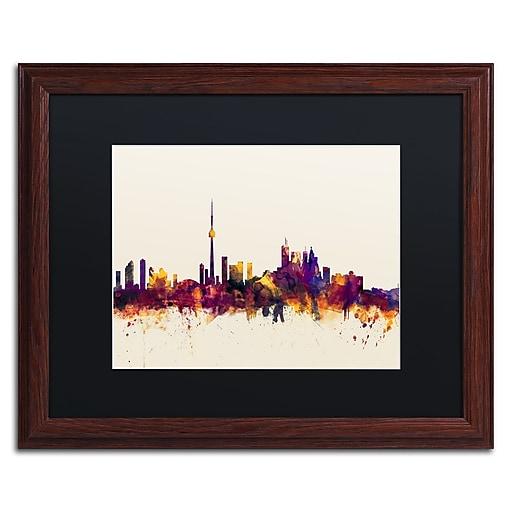 "Trademark Fine Art ''Toronto Canada Skyline VI'' by Michael Tompsett 16"" x 20"" Black Matted Wood Frame (MT0808-W1620BMF)"