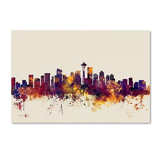 "Trademark Fine Art ''Seattle Washington Skyline'' by Michael Tompsett 16"" x 24"" Canvas Art (MT0809-C1624GG)"