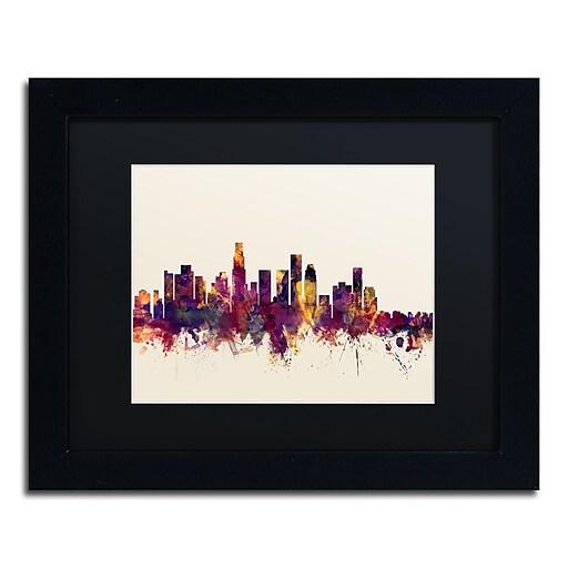 "Trademark Fine Art ''Los Angeles California Skyline IV'' by Michael Tompsett 11"" x 14""Black Frame (MT0810-B1114BMF)"