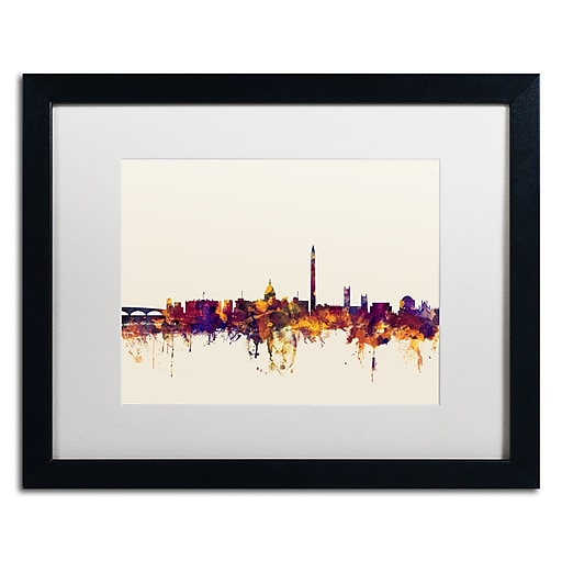 "Trademark Fine Art ''Washington DC Skyline V'' by Michael Tompsett 16"" x 20"" White Matted Black Frame (MT0813-B1620MF)"