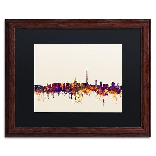 "Trademark Fine Art ''Washington DC Skyline V'' by Michael Tompsett 16"" x 20"" Black Matted Wood Frame (MT0813-W1620BMF)"