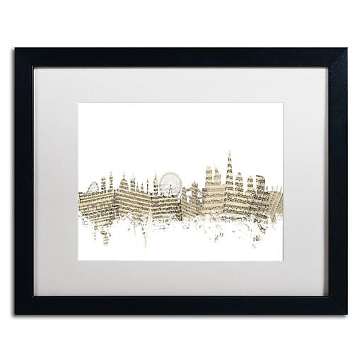 """Trademark Fine Art ''London Skyline Sheet Music'' by Michael Tompsett 16"""" x 20"""" White Matted Black Frame (MT0815-B1620MF)"""