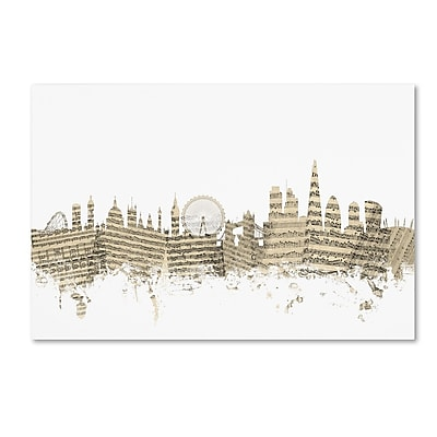 Trademark Fine Art ''London England Skyline Sheet Music'' by Michael Tompsett 30