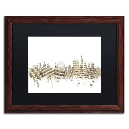"Trademark Fine Art ''London Skyline Sheet Music'' by Michael Tompsett 16"" x 20"" Black Matted Wood Frame (MT0815-W1620BMF)"