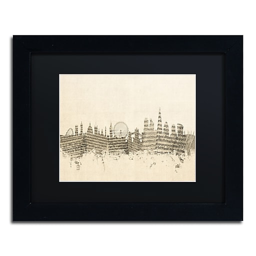 "Trademark Fine Art ''London Skyline Sheet Music'' by Michael Tompsett 11"" x 14"" Black Frame (MT0816-B1114BMF)"