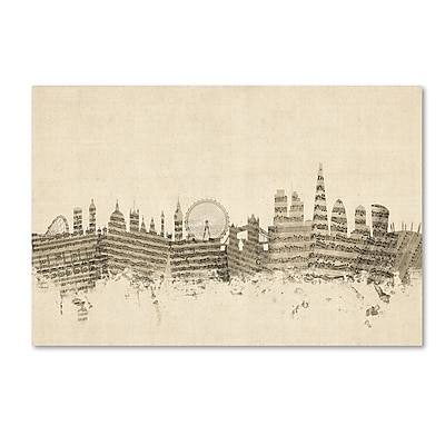 Trademark Fine Art ''London England Skyline Sheet Music'' by Michael Tompsett 12