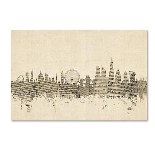 """Trademark Fine Art ''London England Skyline Sheet Music'' by Michael Tompsett 16"""" x 24"""" Canvas Art (MT0816-C1624GG)"""