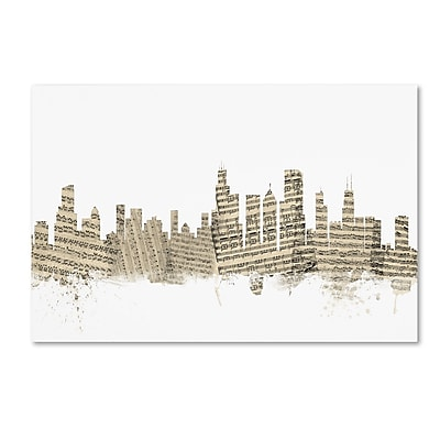 Trademark Fine Art ''Chicago Illinois Skyline Sheet Music'' by Michael Tompsett 16