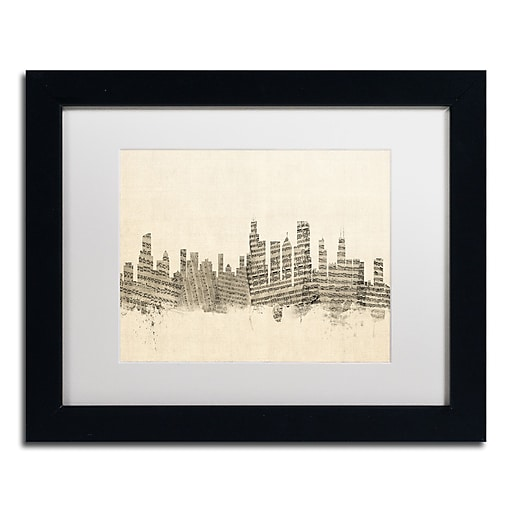 "Trademark Fine Art ''Chicago Skyline Sheet Music'' by Michael Tompsett 11"" x 14"" Black Frame (MT0818-B1114MF)"