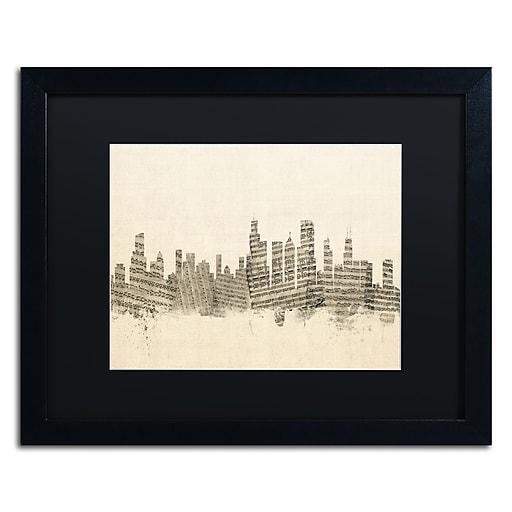 """Trademark Fine Art ''Chicago Skyline Sheet Music'' by Michael Tompsett 16"""" x 20"""" Black Matted Black Frame (MT0818-B1620BMF)"""