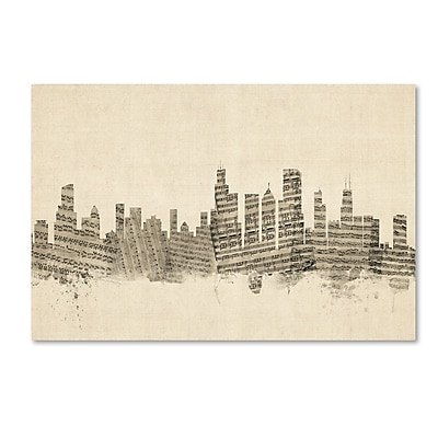 Trademark Fine Art ''Chicago Illinois Skyline Sheet Music'' by Michael Tompsett 22