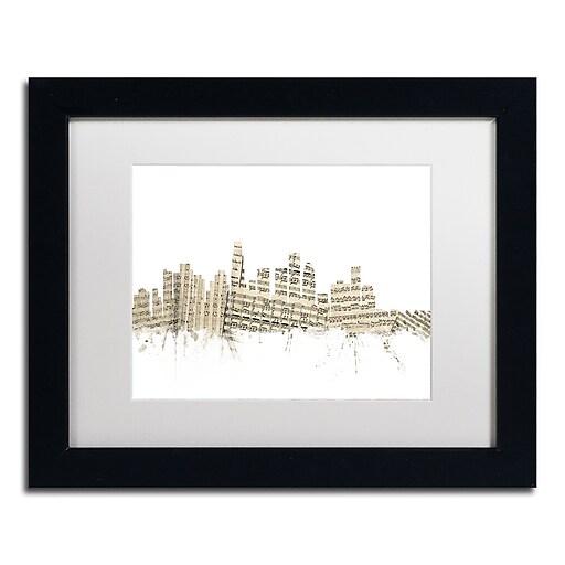 "Trademark Fine Art ''Los Angeles Skyline Sheet Music'' by Michael Tompsett 11"" x 14"" Black Frame (MT0819-B1114MF)"