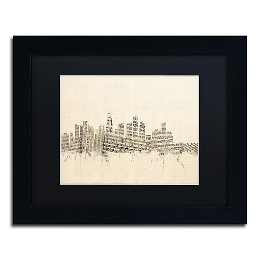 "Trademark Fine Art ''Los Angeles Sheet Music II'' by Michael Tompsett 11"" x 14"" Black Matted Black Frame (MT0820-B1114BMF)"