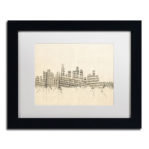 "Trademark Fine Art ''Los Angeles Sheet Music II'' by Michael Tompsett 11"" x 14"" White Matted Black Frame (MT0820-B1114MF)"