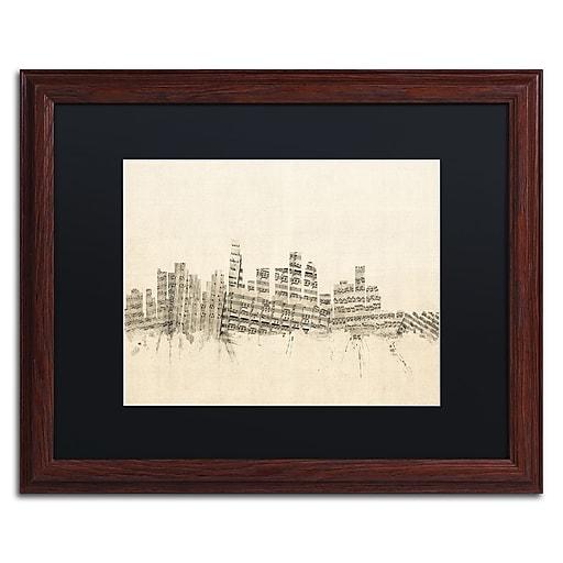 "Trademark Fine Art ''Los Angeles Sheet Music II'' by Michael Tompsett 16"" x 20"" Black Matted Wood Frame (MT0820-W1620BMF)"