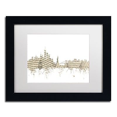 "Trademark Fine Art ''New York Skyline Sheet Music'' by Michael Tompsett 11"" x 14"" Black Frame (MT0821-B1114MF)"
