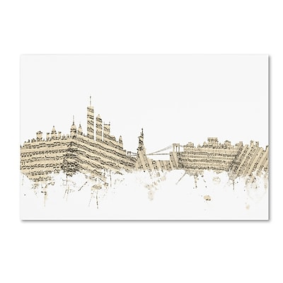 Trademark Fine Art ''New York Skyline Sheet Music'' by Michael Tompsett 16