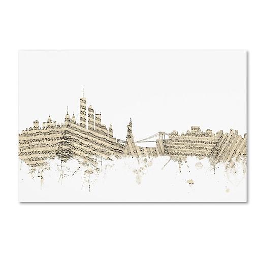 """Trademark Fine Art ''New York Skyline Sheet Music'' by Michael Tompsett 12"""" x 19"""" Canvas Art (MT0821-C1219GG)"""