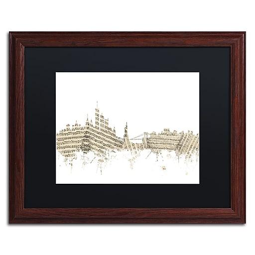 "Trademark Fine Art ''New York Skyline Sheet Music'' by Michael Tompsett 16"" x 20"" Black Matted Wood Frame (MT0821-W1620BMF)"