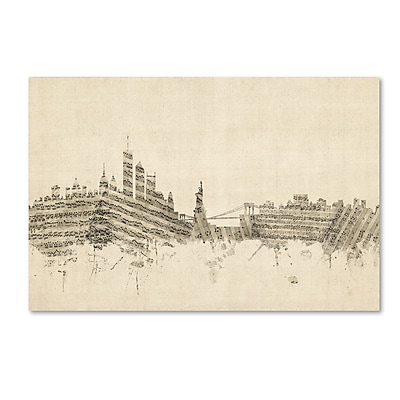 Trademark Fine Art ''New York Skyline Sheet Music'' by Michael Tompsett 22