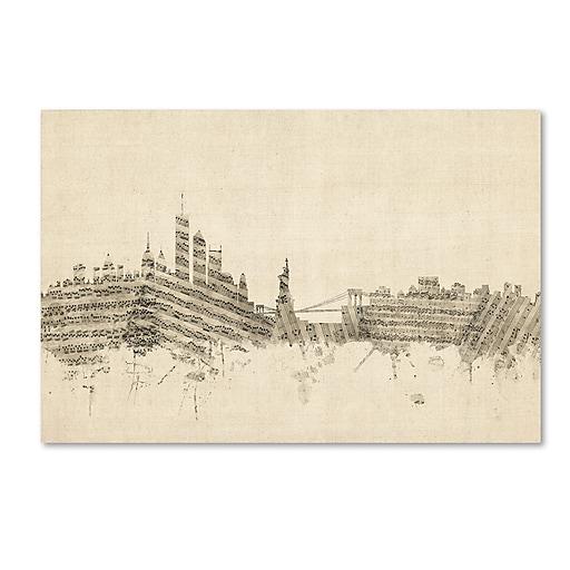 """Trademark Fine Art ''New York Skyline Sheet Music'' by Michael Tompsett 16"""" x 24"""" Canvas Art (MT0822-C1624GG)"""
