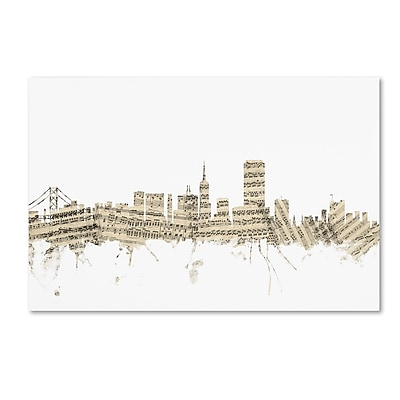 Trademark Fine Art ''San Francisco Skyline Sheet Music'' by Michael Tompsett 12