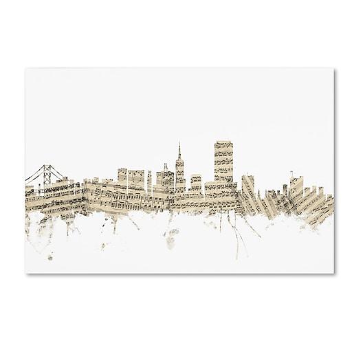"""Trademark Fine Art ''San Francisco Skyline Sheet Music'' by Michael Tompsett 22"""" x 32"""" Canvas Art (MT0823-C2232GG)"""